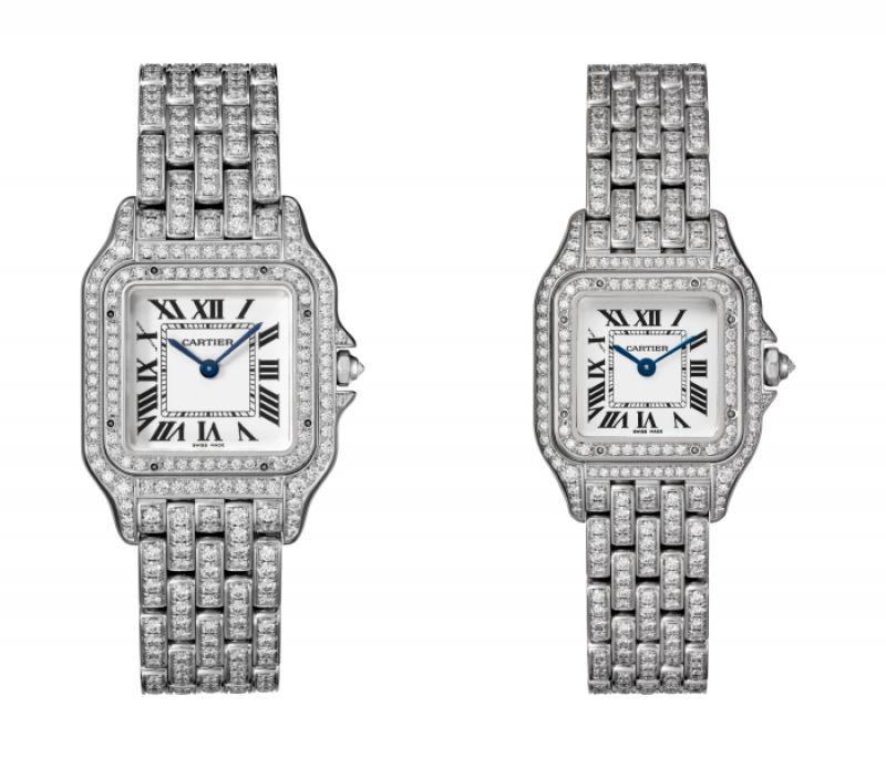 Panthère de Cartier美洲豹白K金全鋪鑲鑽石腕錶 - 錶殼、錶帶全鋪鑲鑽石,搭載石英機芯,八角形錶冠鑲嵌鑽石(左)中型款,參考價格約NT$ 3,450,000 / (右)小型款,參考價格約NT$ 2,490,000