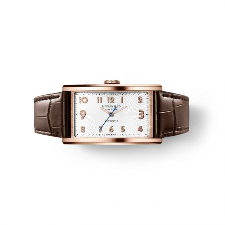 Tiffany East West 18K玫瑰金白色錶盤自動上鍊機芯腕錶