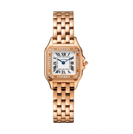 Panthère de Cartier卡地亞美洲豹玫瑰金鑽石腕錶,錶圈鋪鑲鑽石,搭載石英機芯,八角形錶冠鑲嵌鑽石,小型款,參考價格約NT$ 730,000。