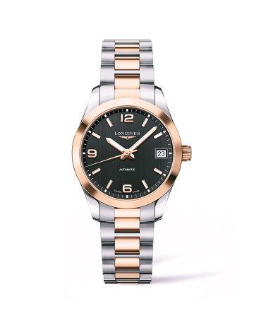 浪琴表征服者經典系列黑面雙色金腕錶(L2.385.5.56.7),建議售價NT$117,600