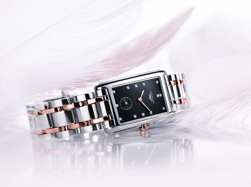 浪琴表新多情系列黑面點鑽雙色金腕錶 (L5.255.5.57.7),建議售價NTD69,200