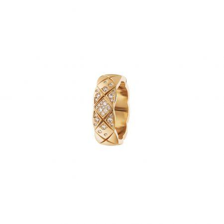 COCO CRUSH 戒指_小型款18K Beige米色金鑲嵌鑽石。建議售價NT136,000