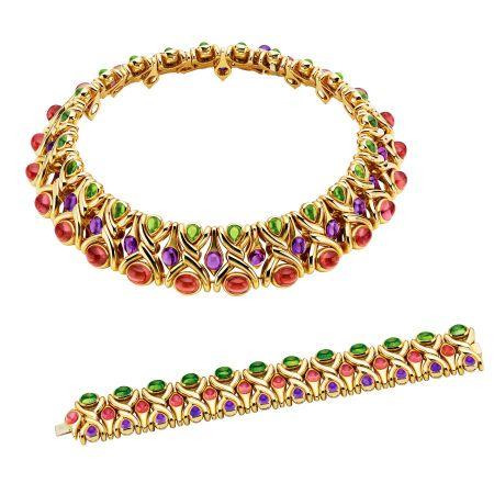 BVLGARI典藏系列黃金粉紅碧璽紫水晶橄欖石項鍊及手鐲,創作於1988年