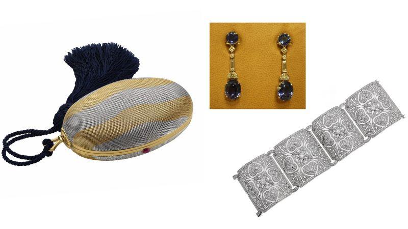 鍾欣潼配戴BVLGARI 典藏系列紅寶石雙色晚宴包,創作於1970年(MUS0440)、BVLGARI頂級珠寶系列鉑金藍寶石耳環(6985),BVLGARI Giardini系列白金鑽石手鐲(260769)