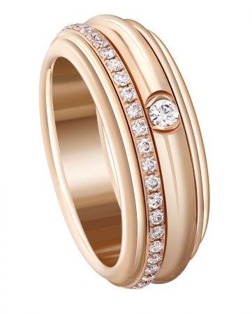 Possession旋轉指環18K玫瑰金鑲嵌46顆圓形美鑽(約0.45克拉)G34P8A00台幣參考價格 189,000起