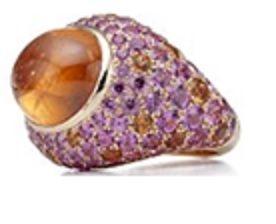 Tiffany 18K玫瑰金鑲嵌蛋面切割錳鋁榴石與有色寶石戒指價格店洽