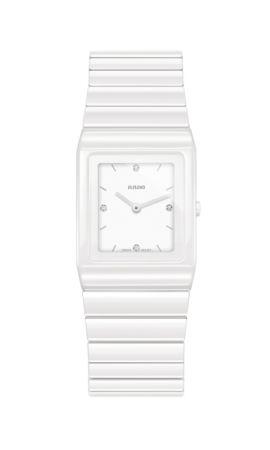 Rado Ceramica 整體陶瓷系列白漾高科技陶瓷腕錶_建議售價NTD 79,800。