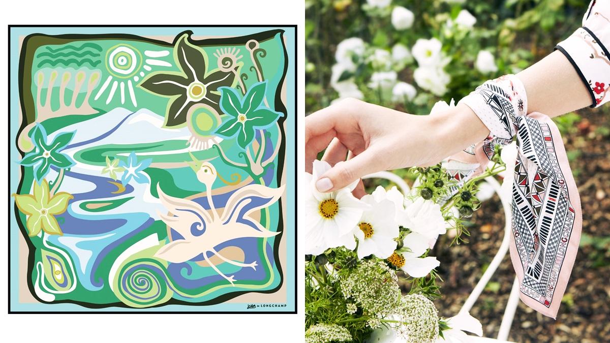 LONGCHAMP聯手法國藝術家推出夏日印花絲巾!除了繫在脖子上,還有這些配戴法為造型加分