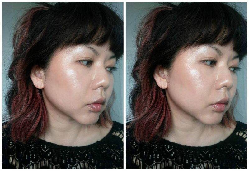 修容示範左邊用粉底刷沾色後直接塗抹,右邊是推開後,融入肌膚,妝效非常自然