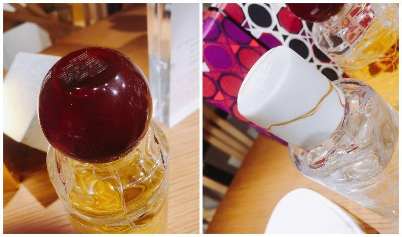 透明琥珀色的顏色,這是琥珀的概念。白色的瓶蓋,非常特別,以碗不慎有裂痕為補飾金邊的創作靈感。