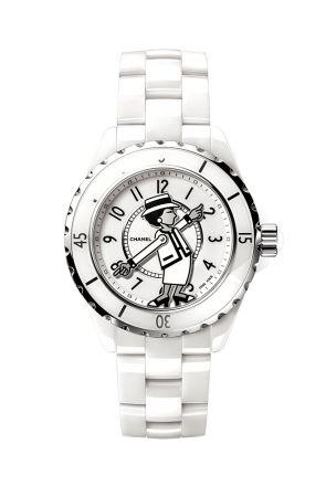 Mademoiselle J12腕錶,香奈兒女士雙手為指針,Chanel