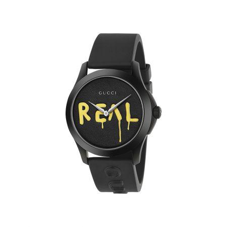 38mm,黑色橡膠錶面浮印REAL字樣,Gucci,NT32,000