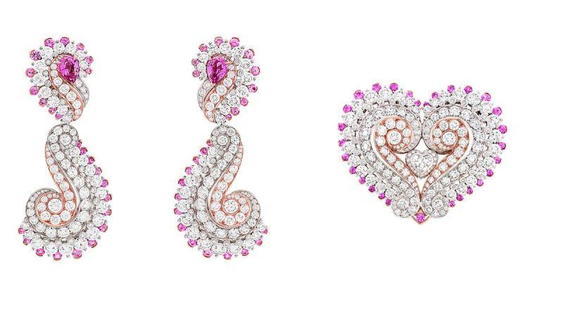 AMOUR RETROUVÉ 耳環白K金、玫瑰金、鑽石、粉紅色藍寶石。可轉換式耳環。鑲嵌梨形粉紅色藍寶石的耳環可單獨佩戴,兩邊的可拆式吊墜可扣成一個雅致的胸針。