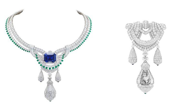 PÉGASE 項鏈白K金、鑽石、祖母綠、藍寶石、一枚45.10克拉的祖母綠切割藍寶石(斯里蘭卡)、可拆式胸針。