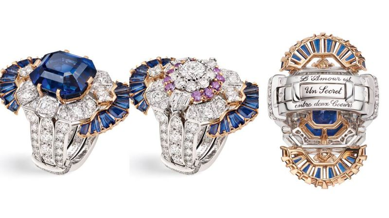 SÉRAPHÎTA 戒指第一枚單顆寶石戒指鑲嵌一顆馬達加斯加16.46克拉湛藍色藍寶石。這顆「古石」的色澤及祖母綠切割(藍寶石少有以這種方式切割)令人驚艷。第二枚戒指精心鋪鑲圓鑽及淡紫色藍寶石。兩枚雖可單獨佩戴,但唯有一同佩戴才組成一道完整的信息。指環底部外沿刻有文字,分別形成兩句名言︰「L'amour est le lien entre deux coeurs」(愛將兩顆心連繫)或「L'amour est le secret entre deux coeurs」(愛是兩顆心之間的秘密)。