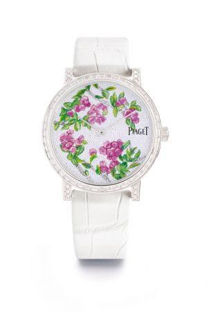 Paper Flower - Altiplano腕錶,白K金鑲嵌鑽石,微砌馬賽克錶盤。