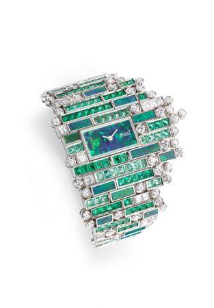 Verde Bisazza主題手鐲腕錶,白K金鑲嵌祖母綠、鑽石與黑色蛋白石。