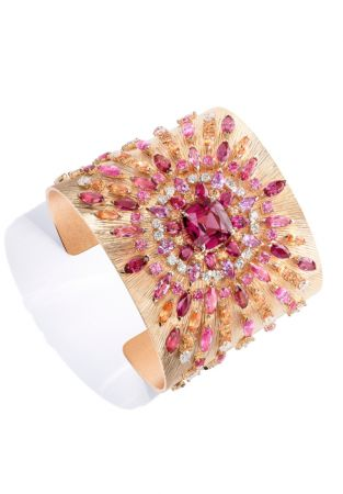 Viva Arte主題手鐲,玫瑰金鑲嵌尖晶石、粉紅色藍寶石、錳鋁石榴石及鑽石。
