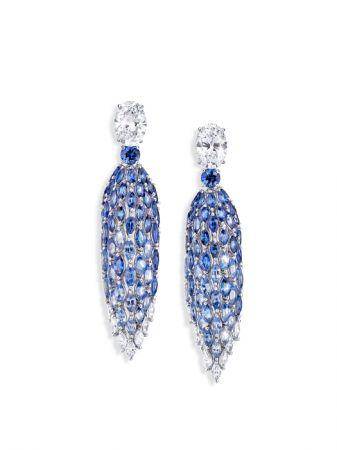 Sea Temptation主題耳環,白K金鑲嵌藍寶石及鑽石。