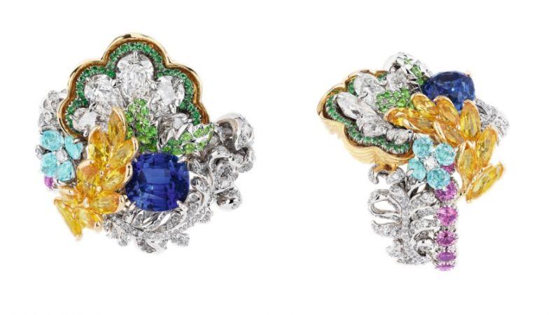 BOSQUET DE LA COLONNADE藍寶石戒指_白K金、黃K金、鑽石、藍寶石、黃色剛玉、粉紅剛玉、帕拉依巴碧璽、沙弗萊石、祖母綠,NT$ 9,000,000。