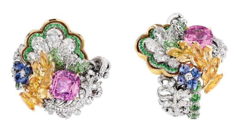 BOSQUET DE LA COLONNADE粉紅剛玉戒指_白K金、黃K金、鑽石、粉紅剛玉、黃色剛玉、沙弗萊石、藍寶石、祖母綠,NT$ 9,000,000。