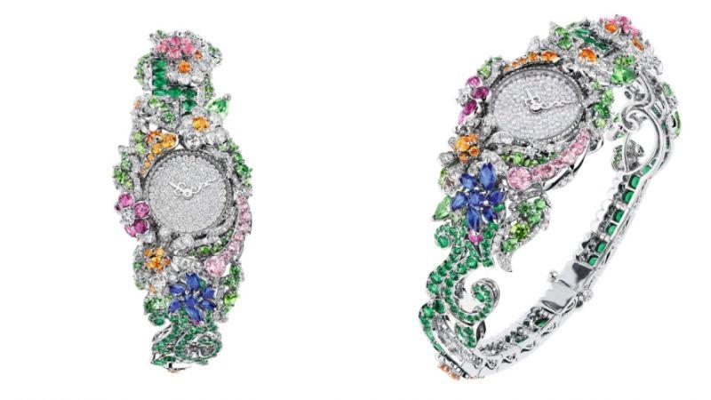 CLAIRIÈRE鑽石高級腕錶_白K金、鑽石、祖母綠、沙弗萊石、翠榴石、錳鋁榴石、藍寶石、粉紅剛玉、紅色碧璽、石英機芯,NT$ 13,500,000。