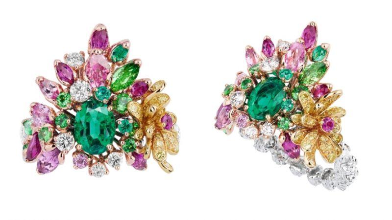COURONNE DE FLEURS祖母綠戒指_粉紅色K金、白K金、黃K金、鑽石、粉紅剛玉、祖母綠、沙弗萊石、黃鑽,NT$ 3,800,000。