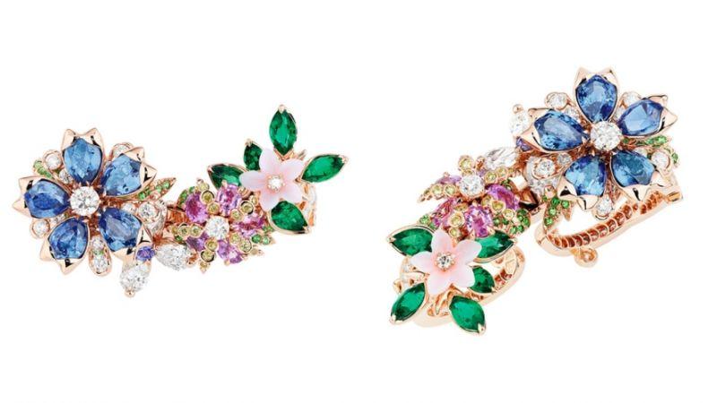 GUIRLANDE DE FLEURS藍寶石雙環戒指_粉紅色K金、鑽石、藍寶石、粉紅剛玉、沙弗萊石、祖母綠、粉紅蛋白石、紫色剛玉、黃鑽,NT$ 8,000,000。