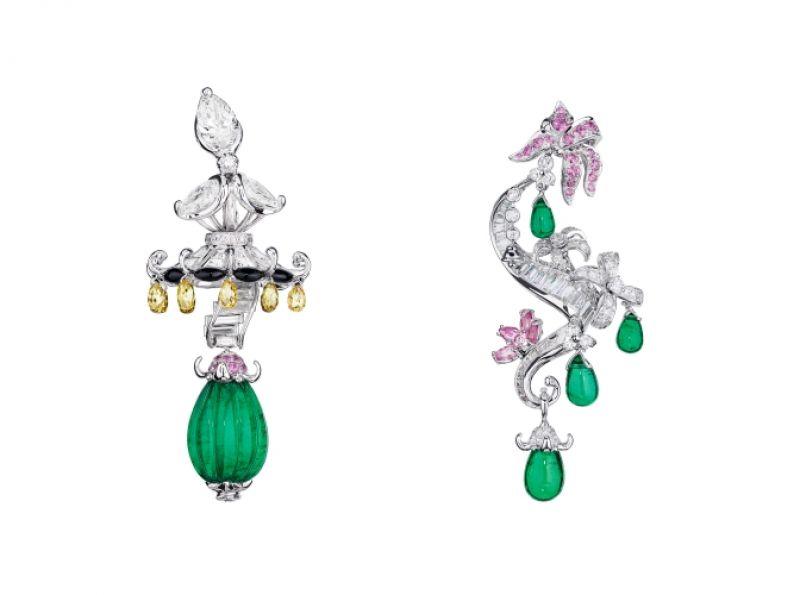 TRIANON祖母綠耳環_白K金、粉紅色K金、鑽石、祖母綠、黃鑽、縞瑪瑙、粉紅剛玉,NT$ 15,500,000。