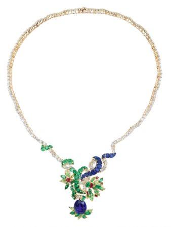 BOSQUET DES DÔMES藍寶石項鍊_黃K金、鑽石、藍寶石、祖母綠、沙弗萊石、紅寶石,價格店洽。