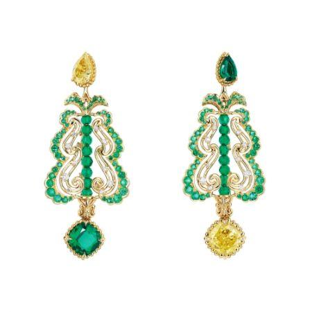 BOSQUET DU THÉÂTRE D'EAU黃鑽耳環_黃K金、鑽石、祖母綠、黃鑽,NT$ 22,000,000。