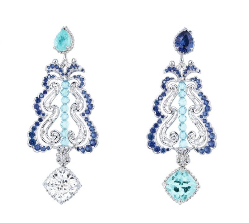 BOSQUET DU THÉÂTRE D'EAU帕拉依巴碧璽耳環_白K金、鑽石、藍寶石、帕拉依巴碧璽、藍色碧璽,NT$ 19,000,000。