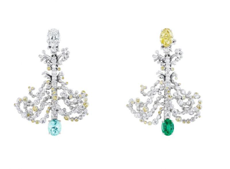 GRANDES EAUX黃鑽耳環_白K金、鑽石、黃鑽、帕拉依巴碧璽、祖母綠,NT$ 7,400,000。