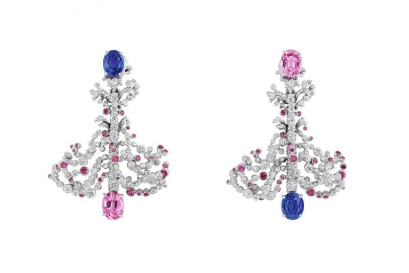 GRANDES EAUX粉紅剛玉耳環_白K金、鑽石、藍寶石、粉紅剛玉、紅寶石,NT$ 5,400,000。