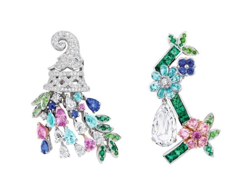 ORANGERIE鑽石耳環_白K金、粉紅色K金、鑽石、粉紅剛玉、祖母綠、帕拉依巴碧璽、藍寶石、翠榴石,NT$ 24,000,000。