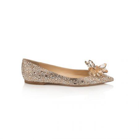 香檳金鑲嵌水晶平底鞋