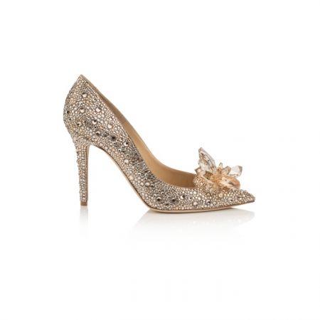 香檳金鑲嵌水晶高跟鞋