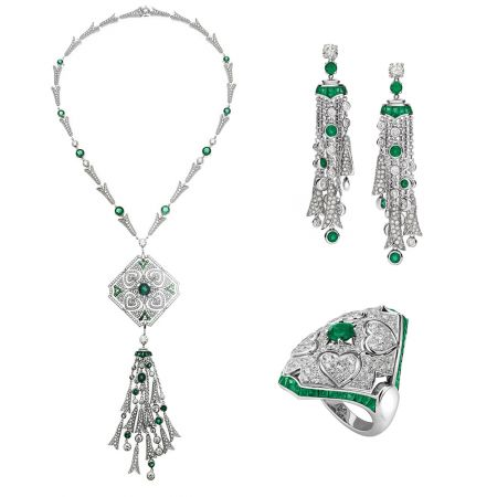 BVLGARI 義大利花園系列白金祖母綠鑽石項鍊(261625)耳環(261618)及戒指(261638)
