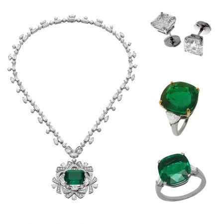 BVLGARI 華彩之源系列頂級鉑金祖母綠鑽石項鍊,頂級珠寶系列鉑金鑽石耳環,頂級珠寶系列白金祖母綠鑽石戒指