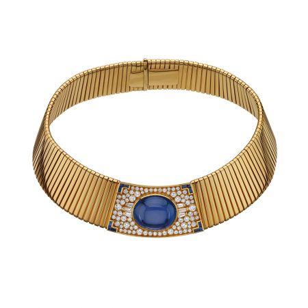 BVLGARI典藏系列黃金項圈式Tibogas藍寶鑽石項鍊,創作於1979年(MUS0054)