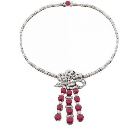 BVLGARI古董典藏系列鉑金黃金紅寶鑽石項練,約創作於1955年(MUS0339)