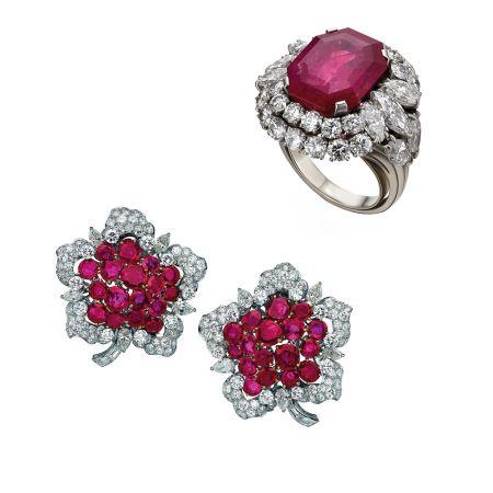 BVLGARI古董典藏系列鉑金黃金紅寶鑽石戒指及花形胸針,約創作於1957年(MUS0339)與1962年(MUS0120)