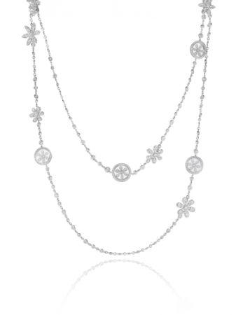 18K白金鑲嵌鑽石與搖擺的鑽石花飾長鏈。