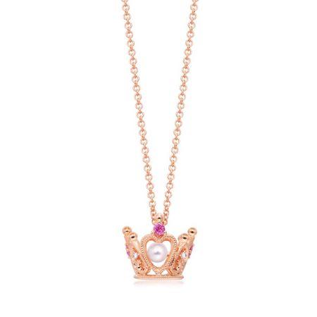 點睛品 La Pelle 18K 玫瑰金Akoya珍珠、粉紅色藍寶石及鑽石頸鍊 NT$21,800