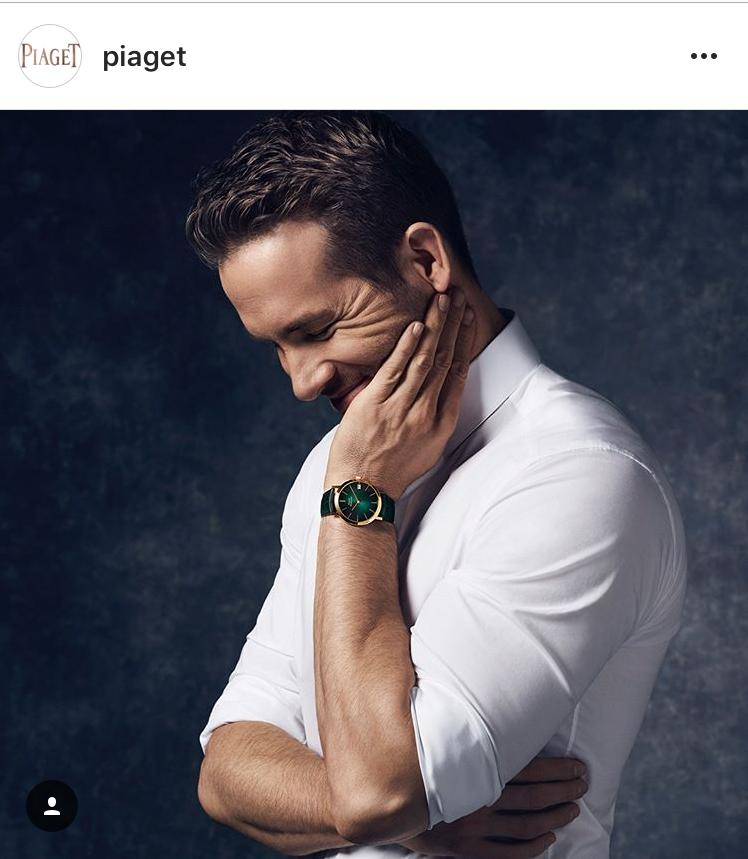 伯爵全球代言人Ryan Reynolds於形象圖中所配戴Altiplano系列腕錶