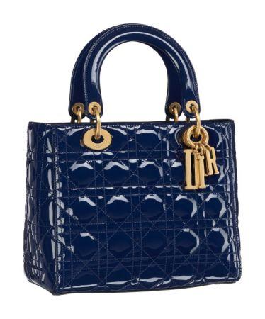 Lady Dior 靛色亮面小牛皮中型款提包