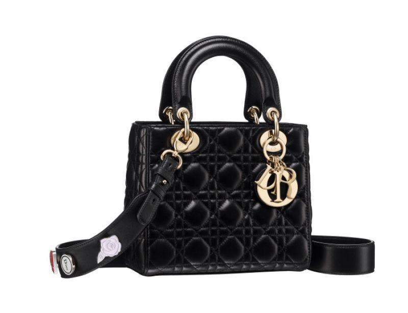 My Lady Dior 黑色籐格紋與幸運徽章背帶提包