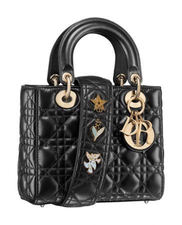 My Lady Dior Star 黑色小羊皮幸運徽章背帶手提包