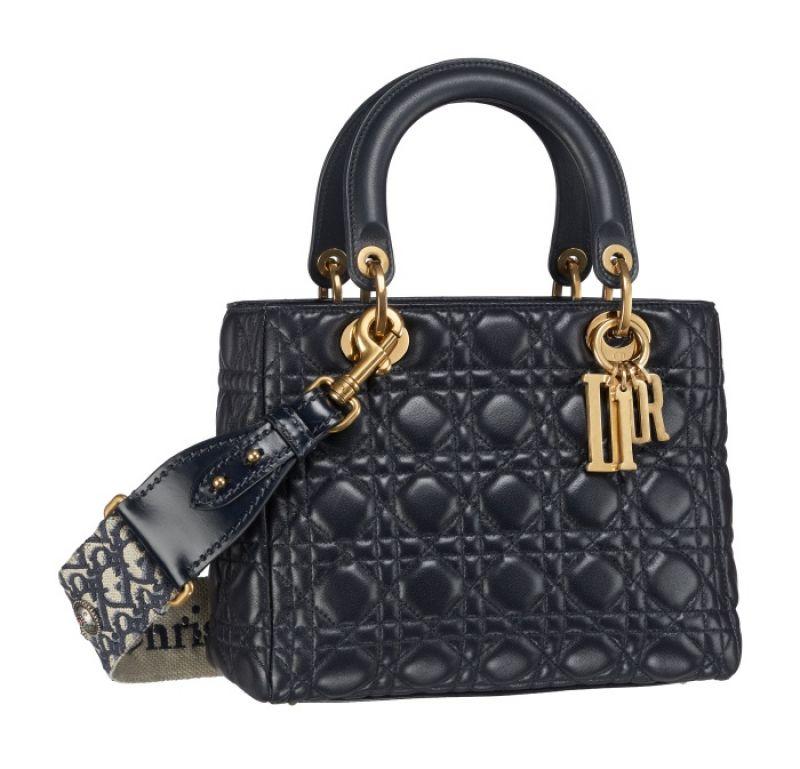 Lady Dior 深邃藍小羊皮Oblique波希米亞風揹帶中型款
