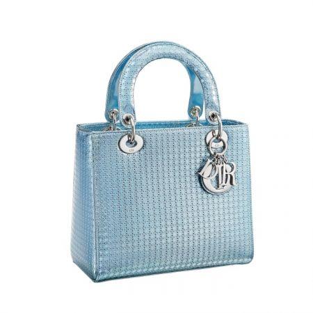 獨賣限定Lady Dior 金屬感綠色小牛皮提包中型款